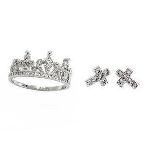 Silver crown ring mini cross earrings set